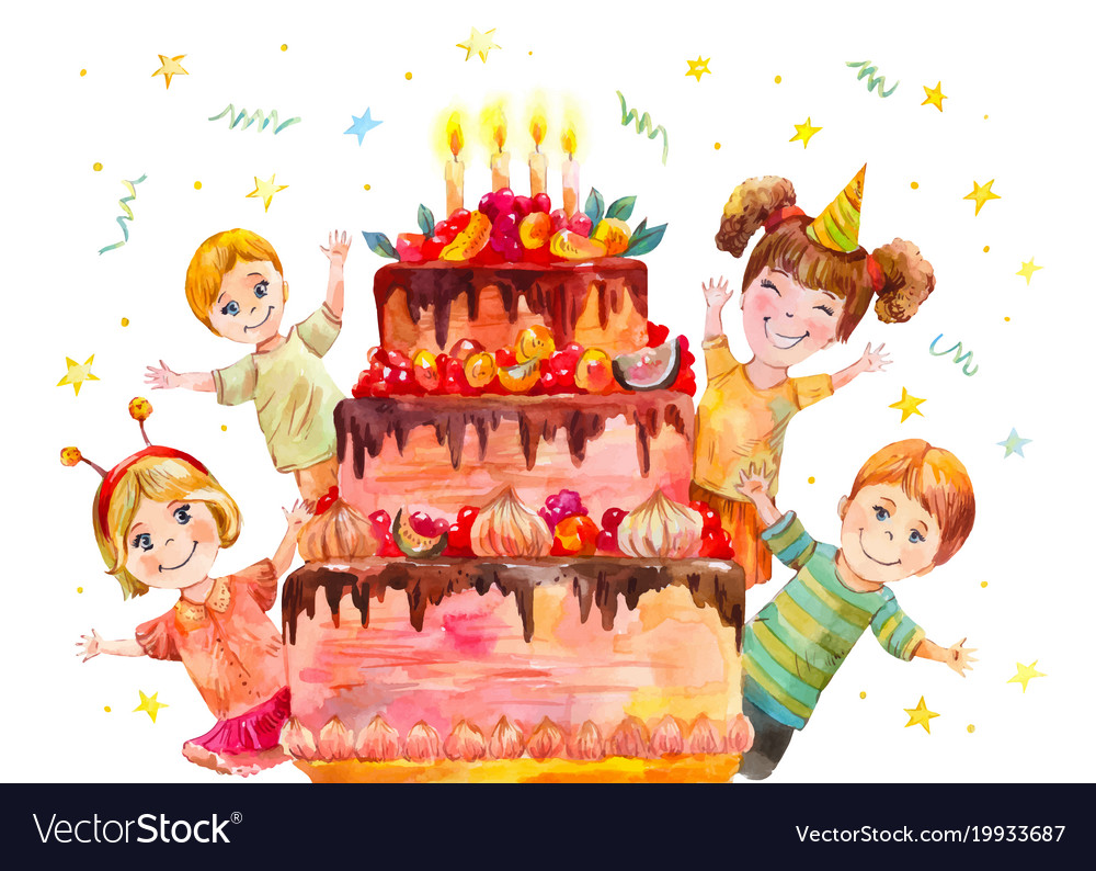 Childrens Party At The Birthday Of A Classmate Vector Image