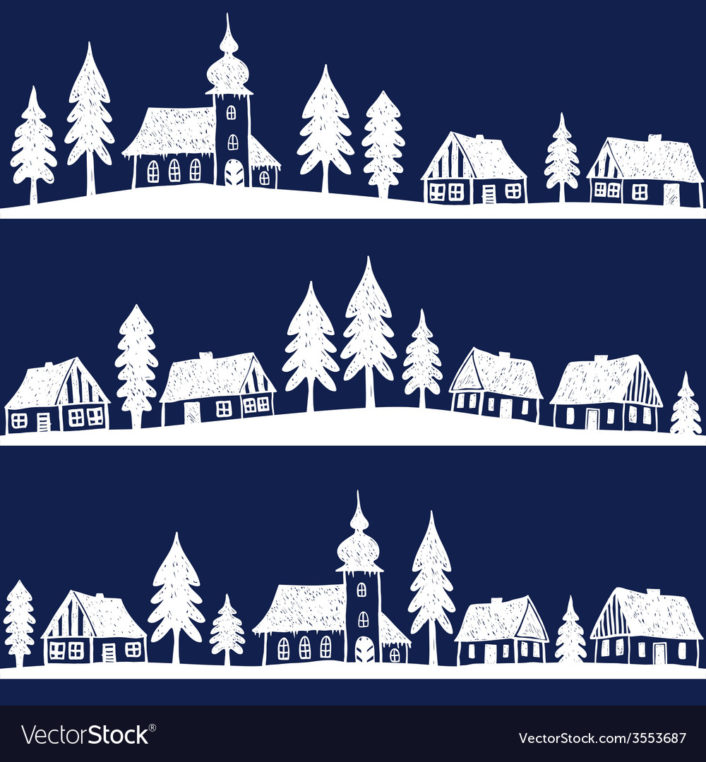 Christmas village with church seamless pattern