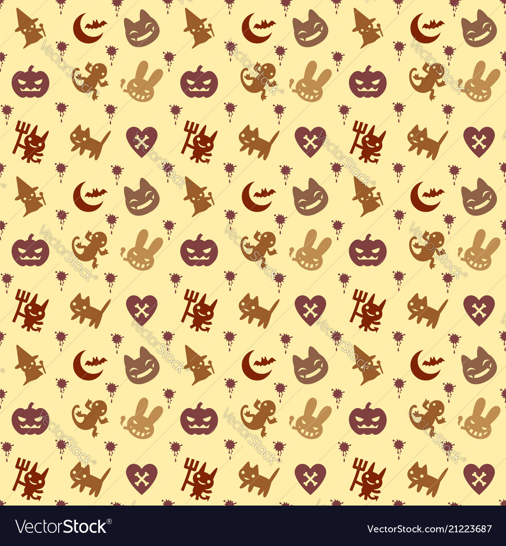 Cute hallowen pattern background with brown color