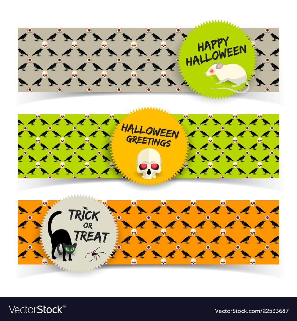 Halloween greeting horizontal banners