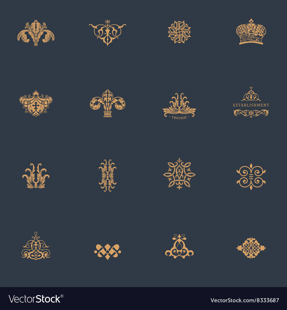 Luxury vintage logos set Calligraphic emblems and