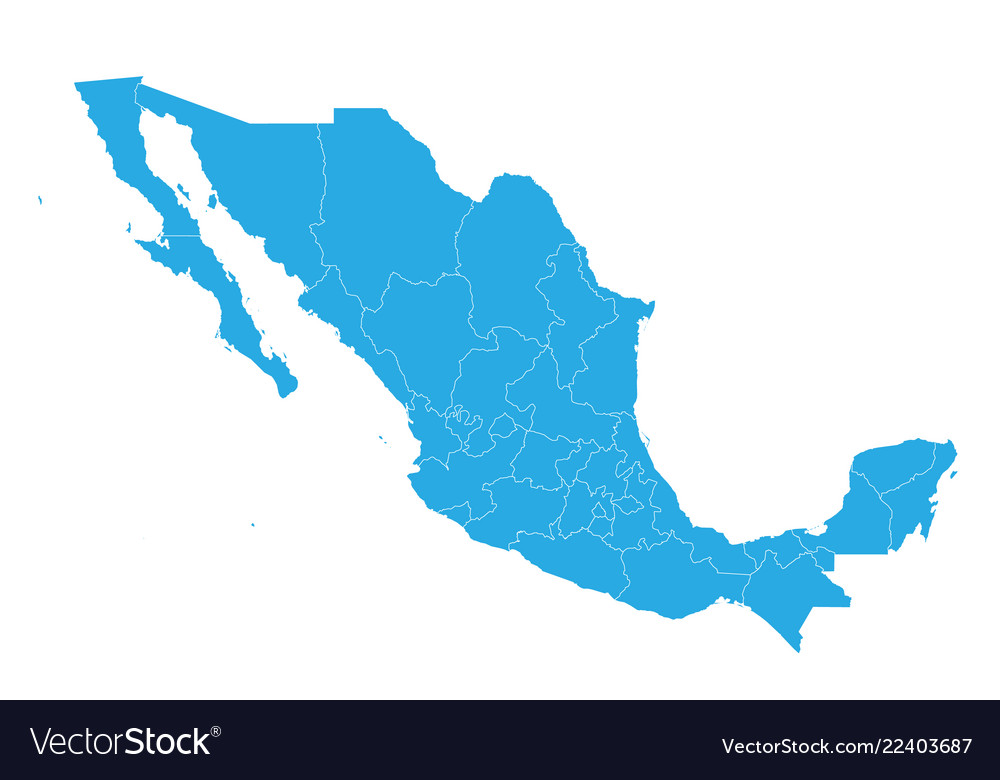 Map of mexico high detailed map - mexico