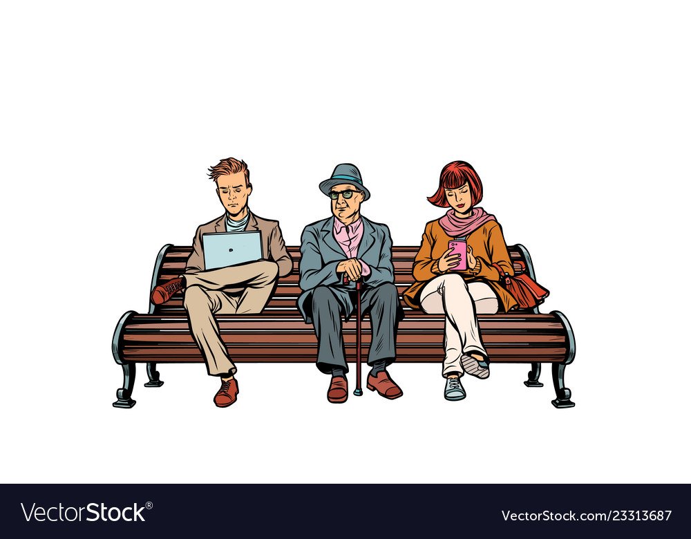 People sit on the bench pensioner woman and man