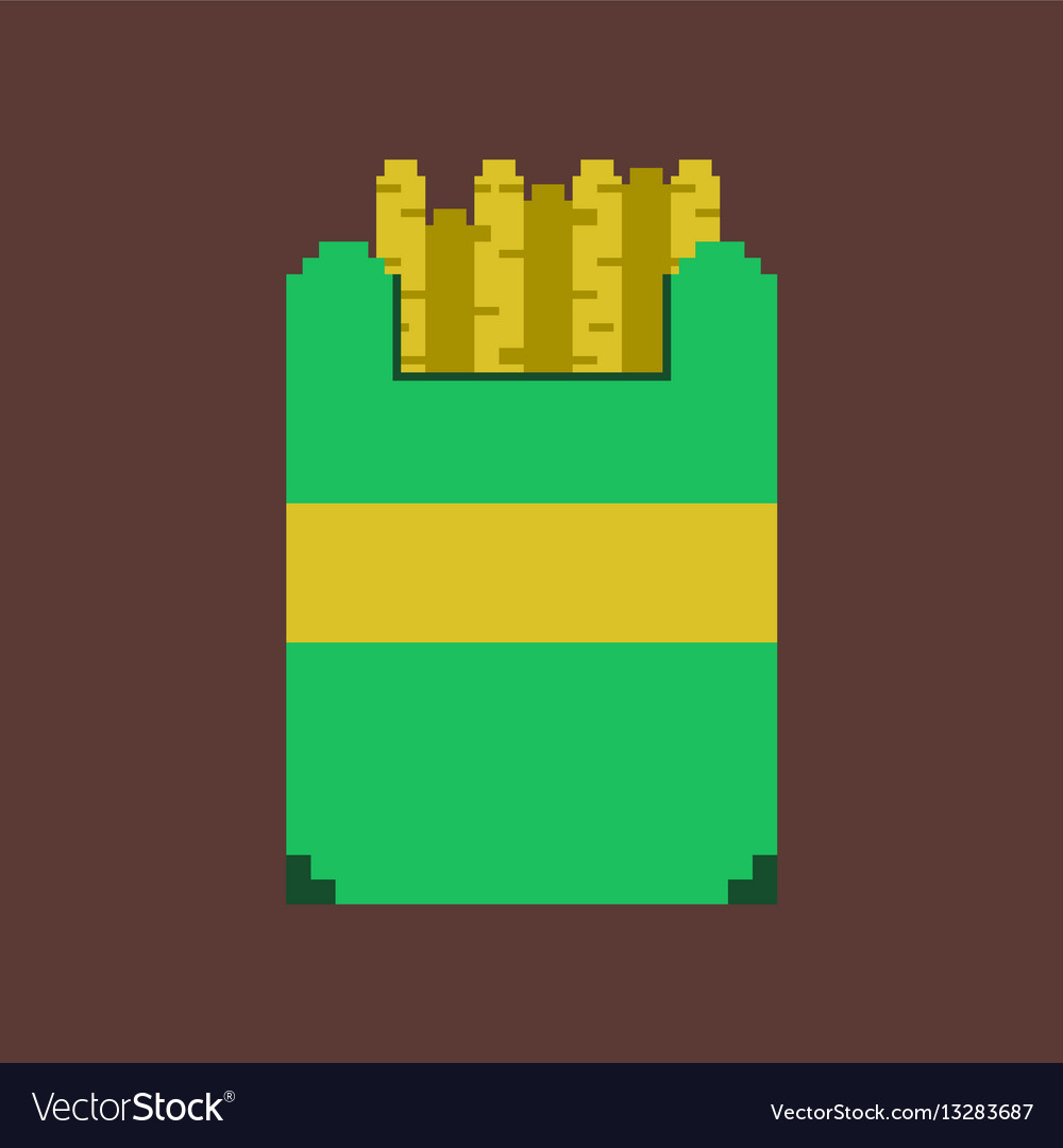 Pixel icon in flat style french fries