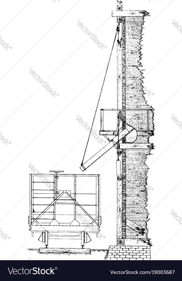 Quadrant bin gates vintage vector image