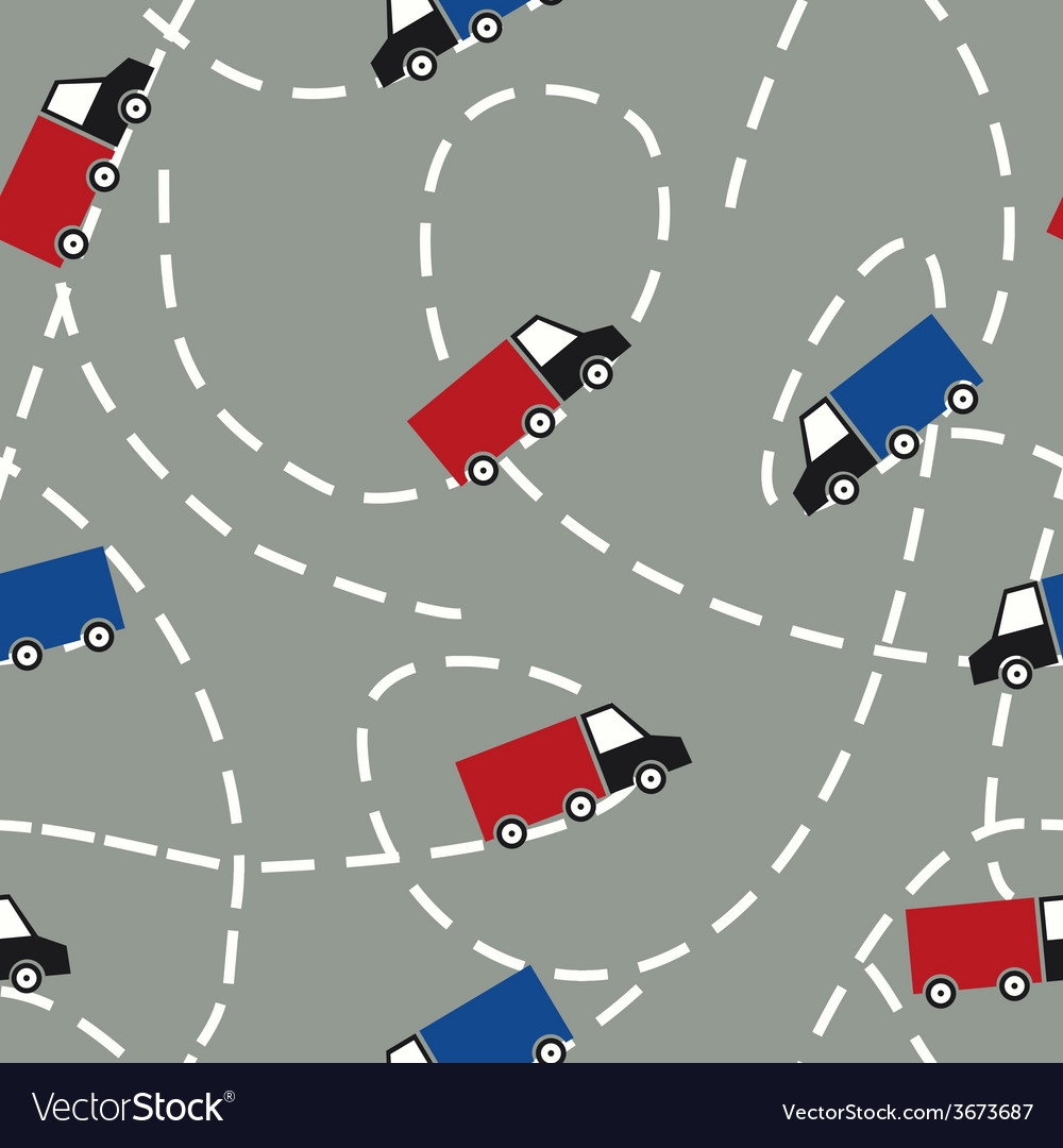 Seamless Pattern with Trucks Delivery Concept vector image