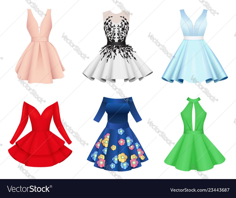 Set of elegant colorful women cocktail dresses