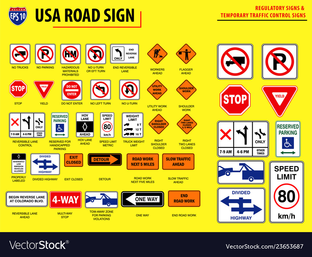 Set of usa road sign