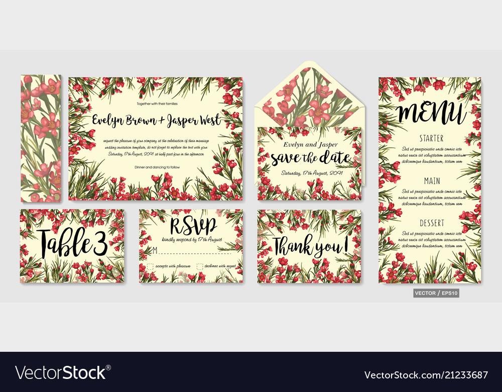 Set Of Wedding Invitation Templates With Leaves
