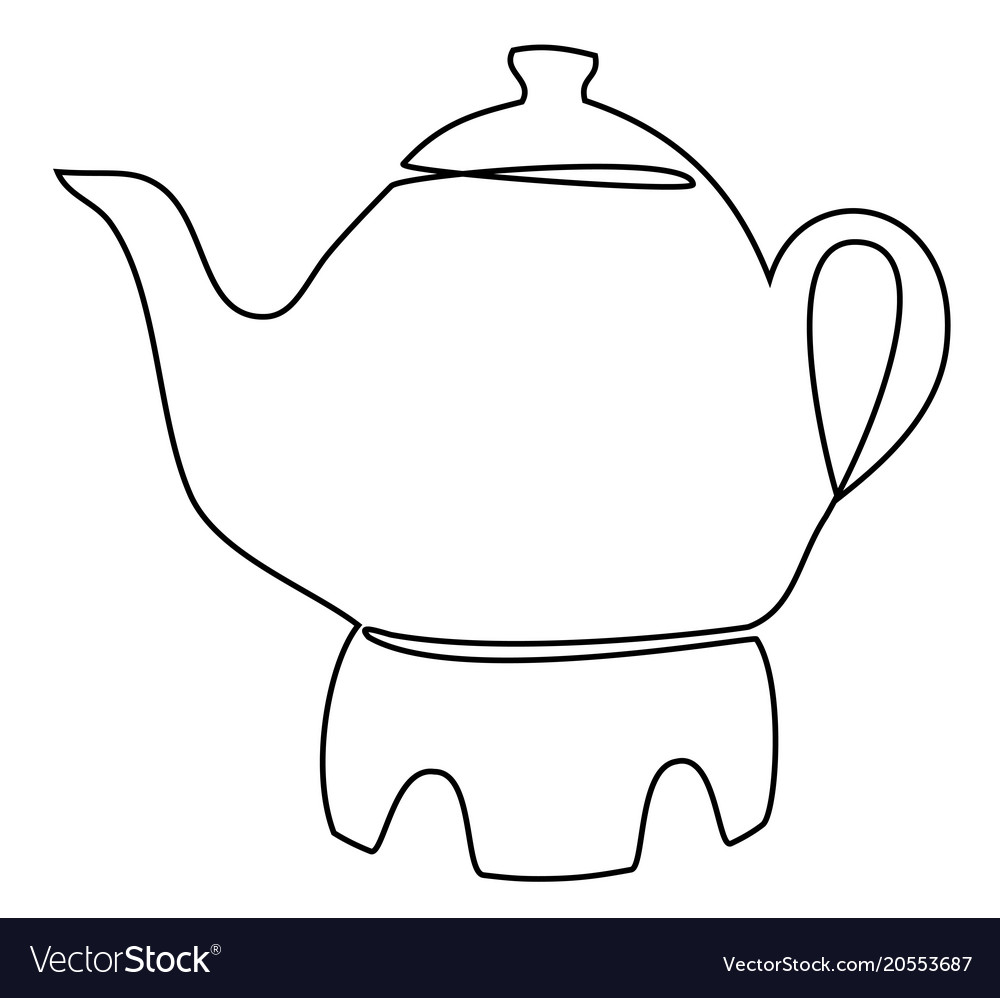 Tea set one line drawing concept