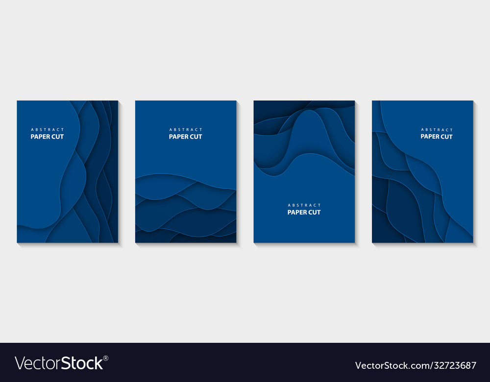 Vertical flyers with blue paper cut waves shapes
