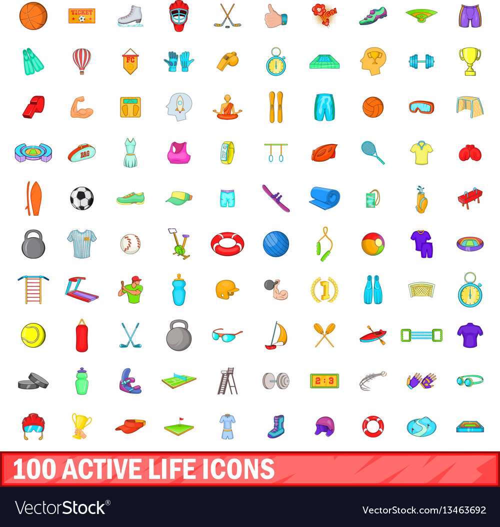 100 active life icons set cartoon style