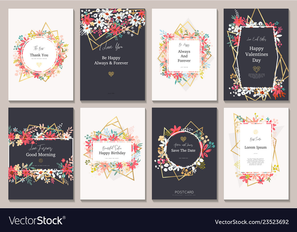 Beautiful card with flowers and gold lines