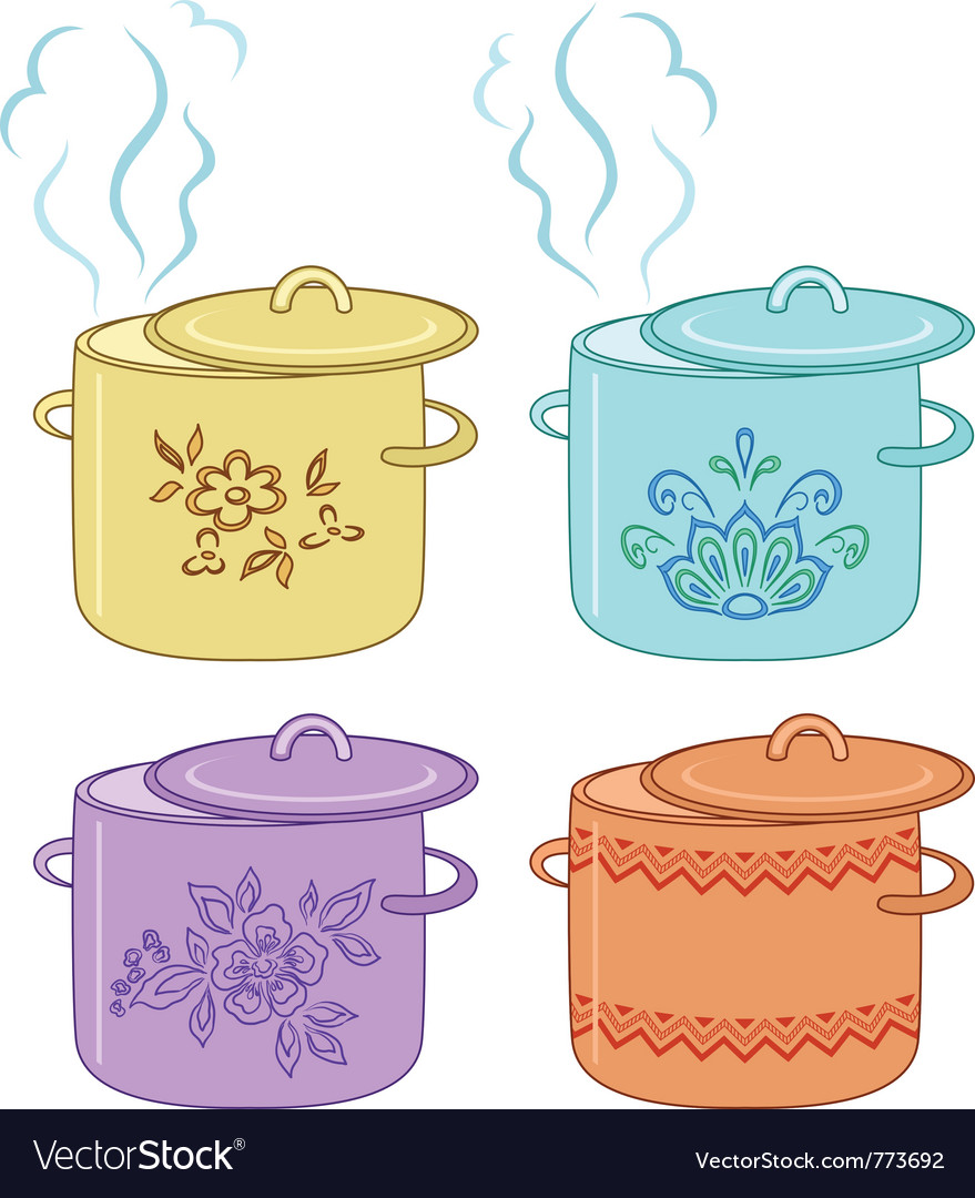 Boiling pan with pattern set vector image