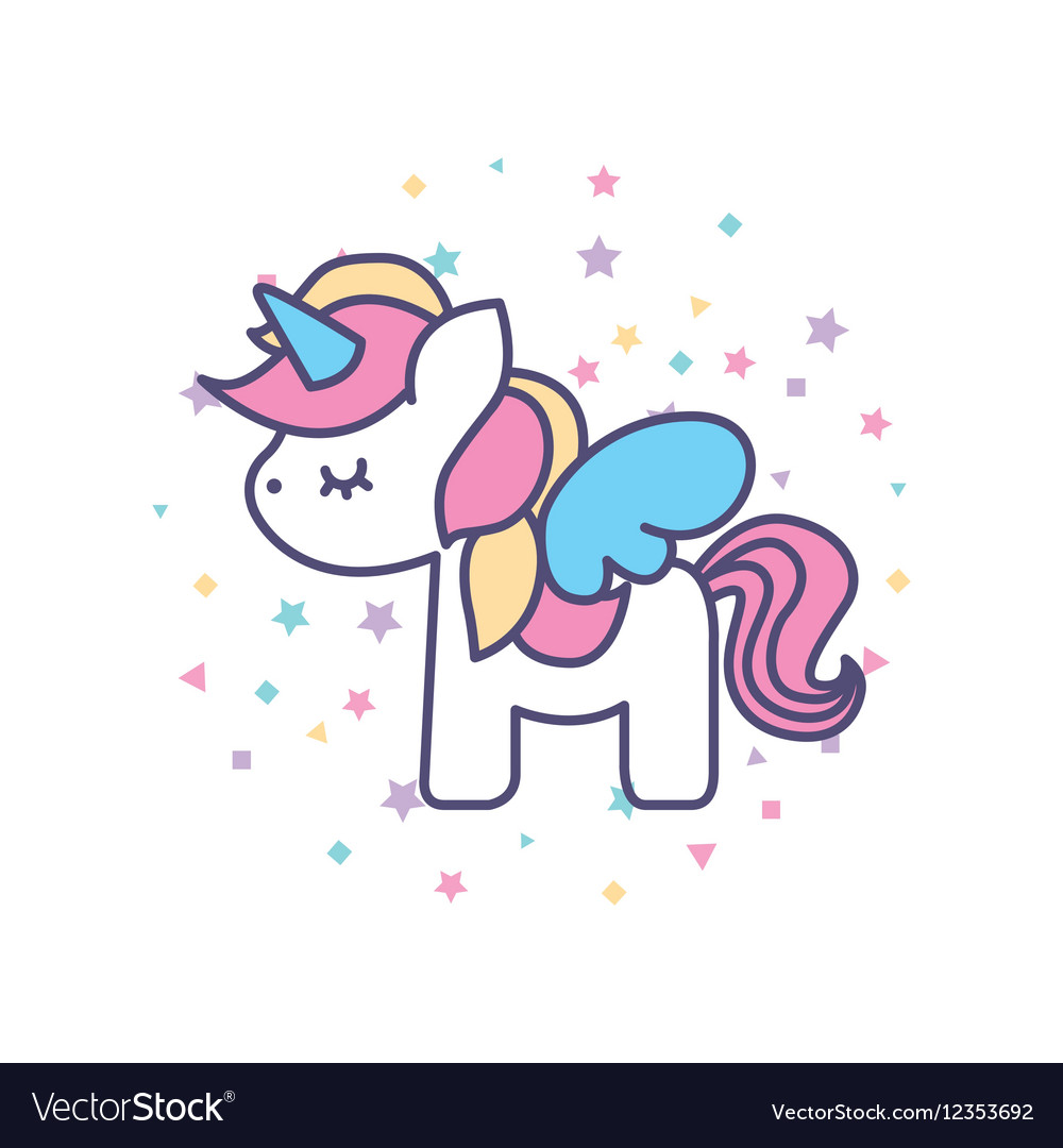 Drawing cute unicorn icon vector image