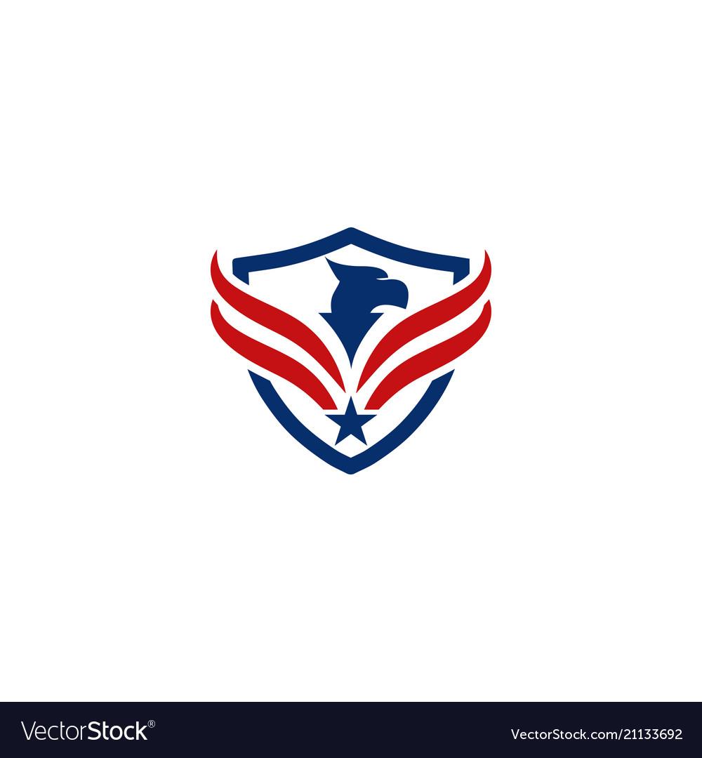 Eagle and shield logo emblem template vector image