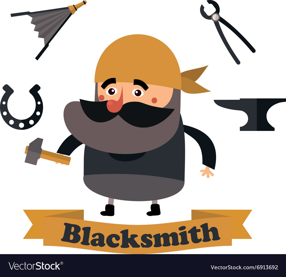 Flat icons blacksmith vector image