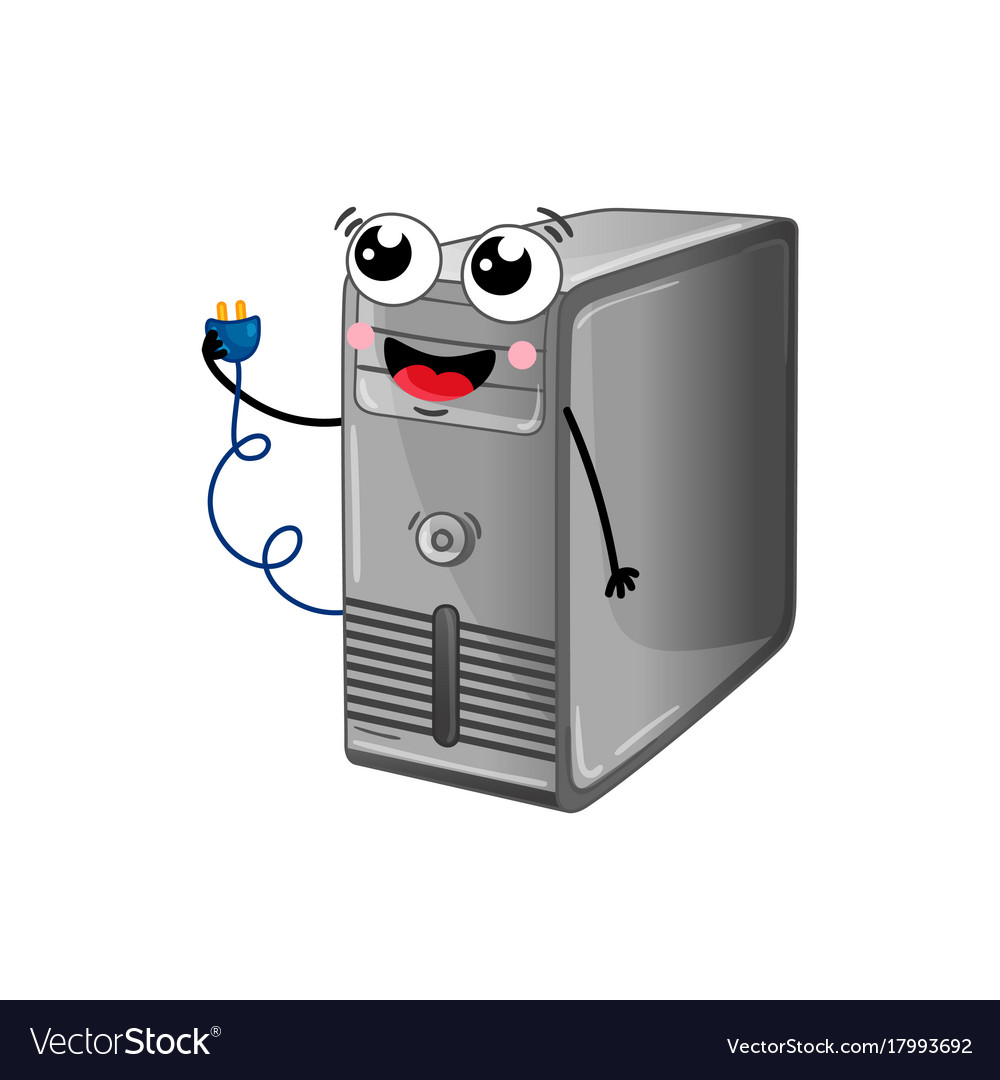 Funny computer system unit cartoon character
