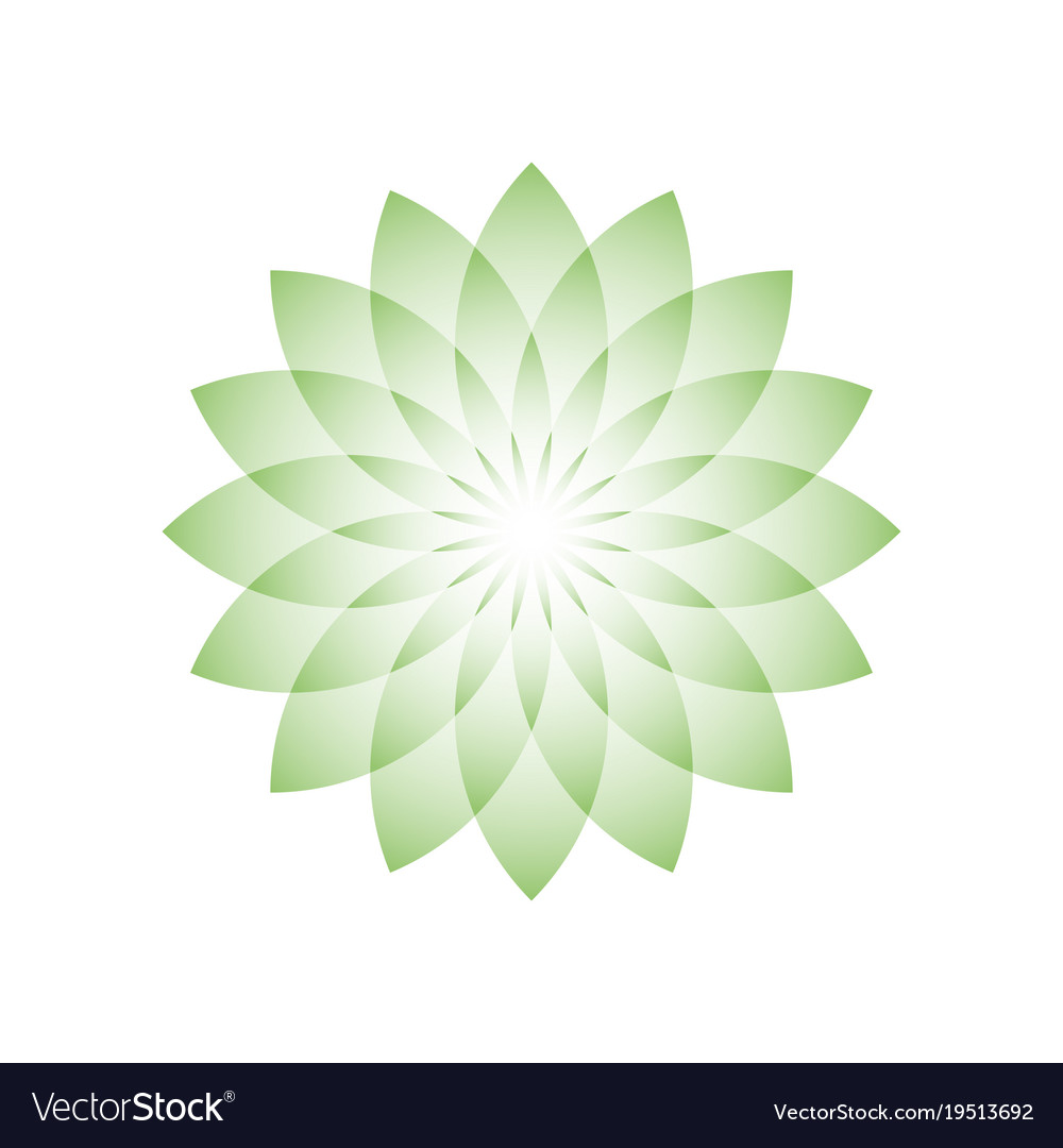 Green Lotus Flower Symbol Of Yoga Wellness Vector Image