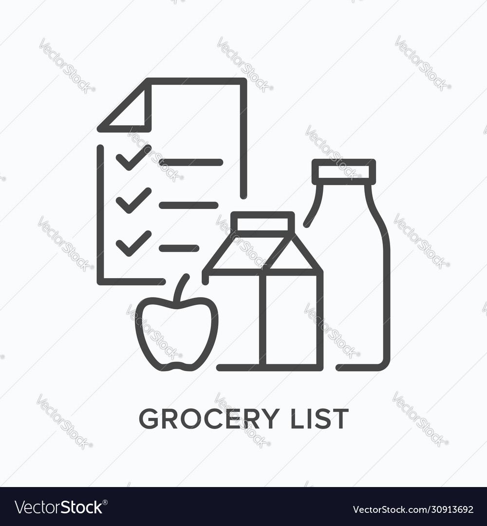Grocery list line icon outline