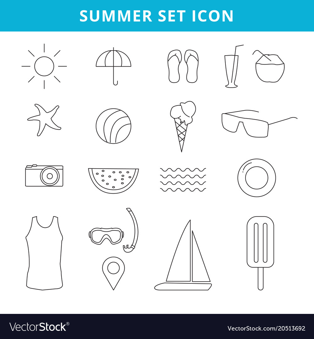 Hand drawing summer icons and symbol set outline