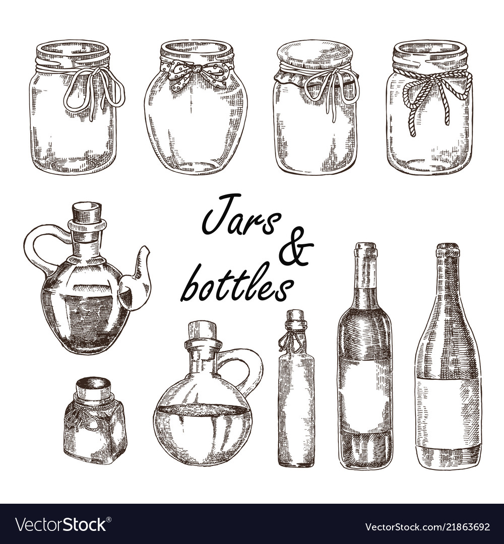 Hand drawn jars and bottles in