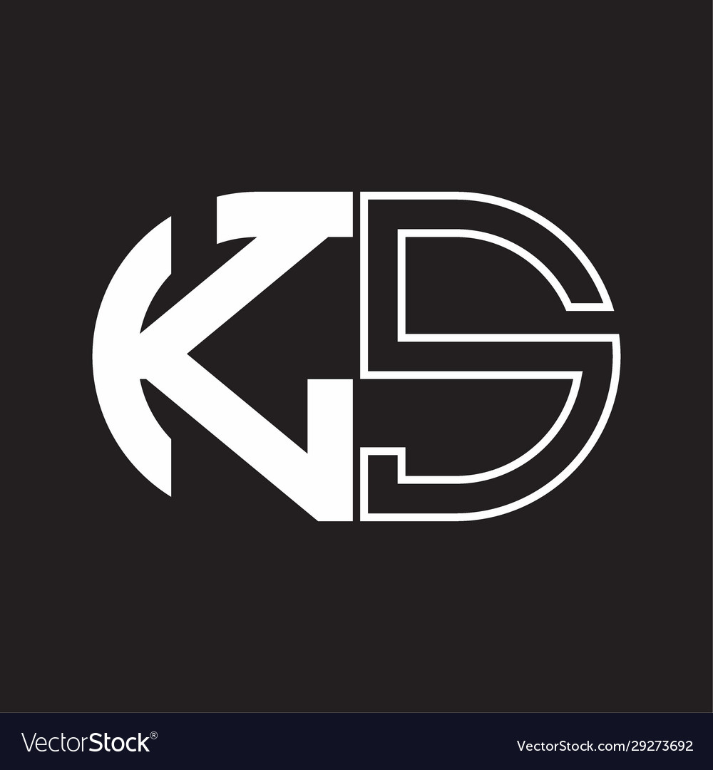 Ks Letter Logo Monogram With Oval Shape Negative Vector Image