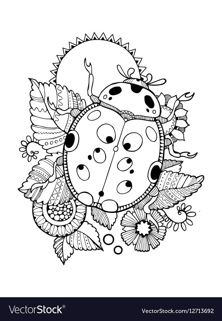 Ladybug coloring book Royalty Free Vector Image
