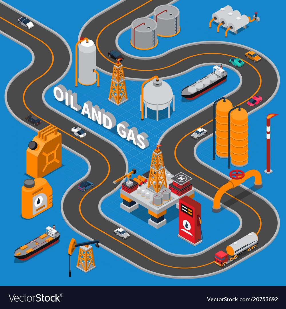 Oil and gas isometric composition vector image