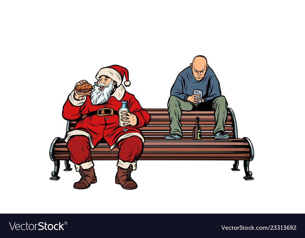 Santa claus eats fast food burger hooligan drinks
