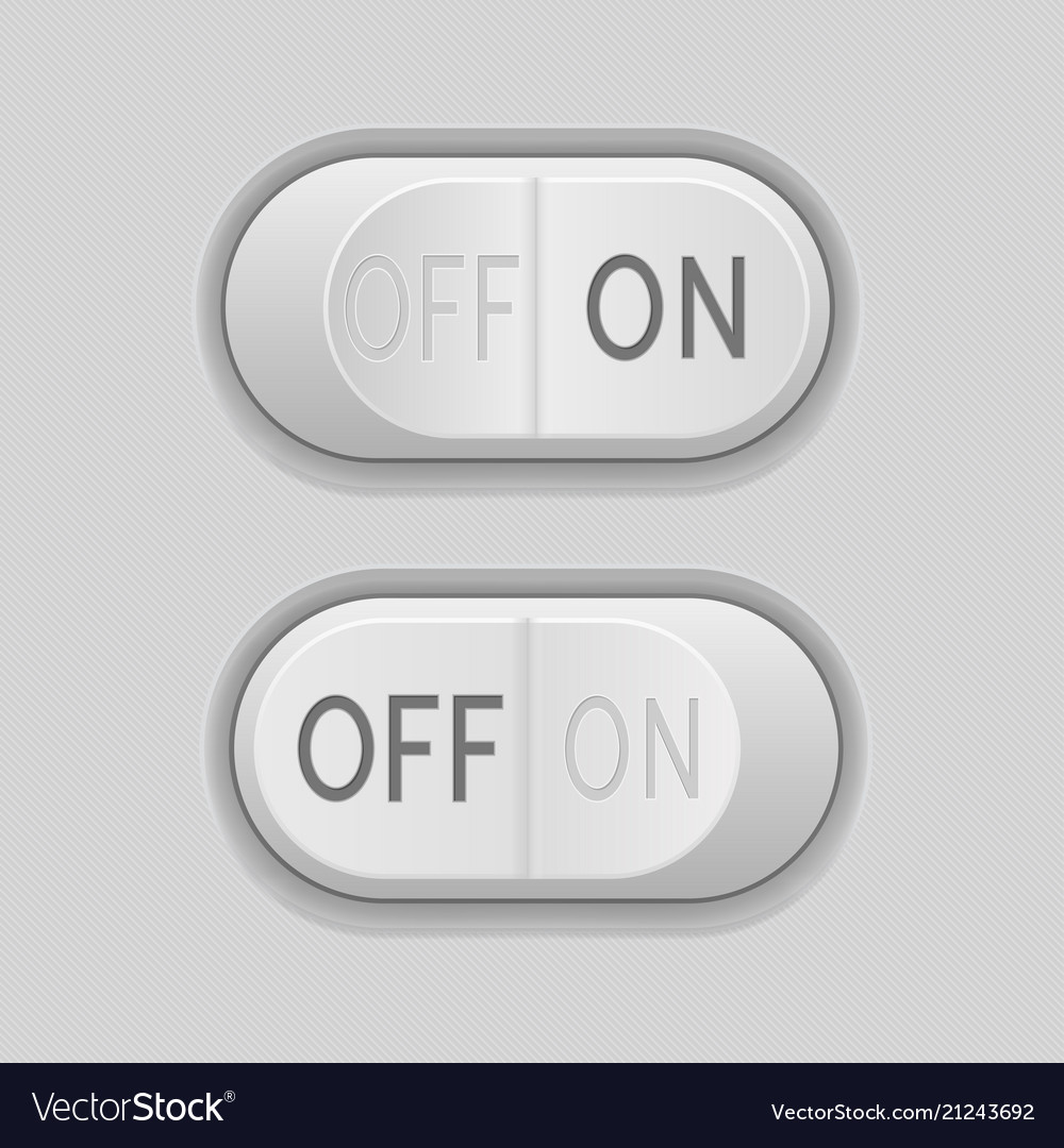 Toggle switch buttons on and off 3d gray push Vector Image