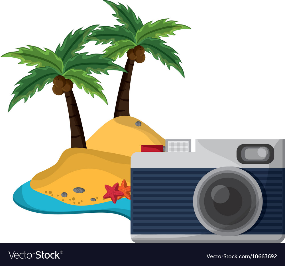 Tropical island and camera icon