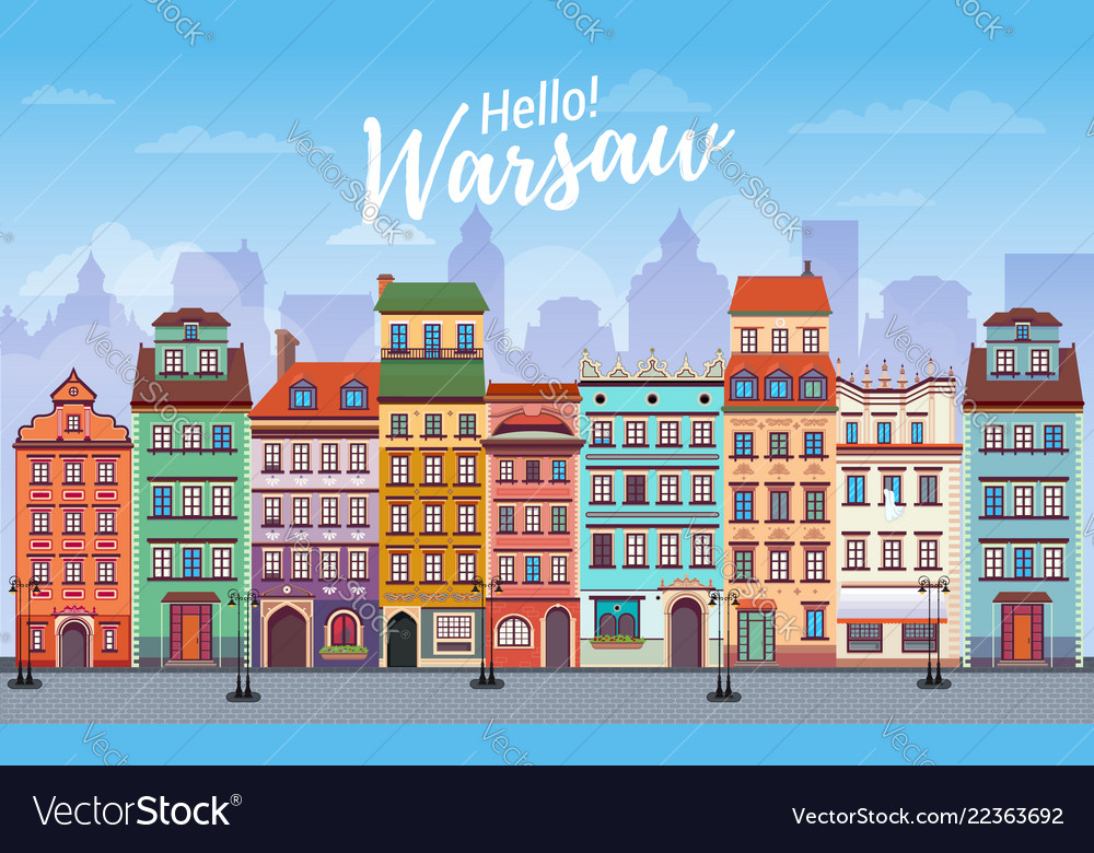 Warsaw cityscape banner in flat style europe