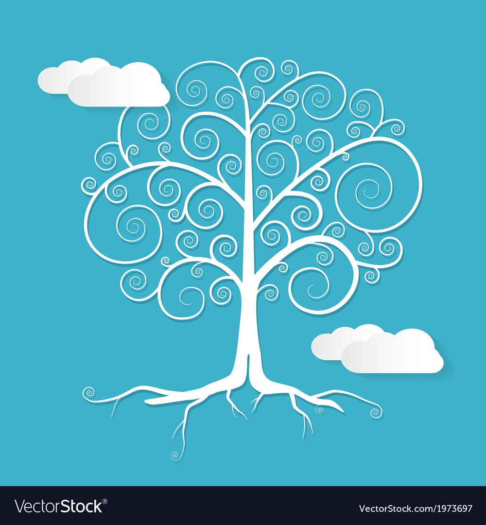 Abstract White Tree with Clouds on Blue Back