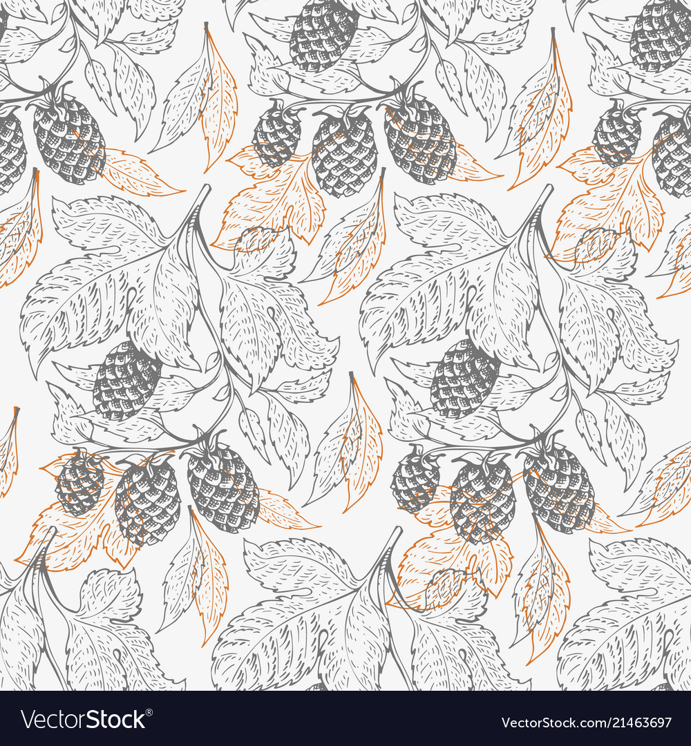 Beer hop seamless pattern retro beer background