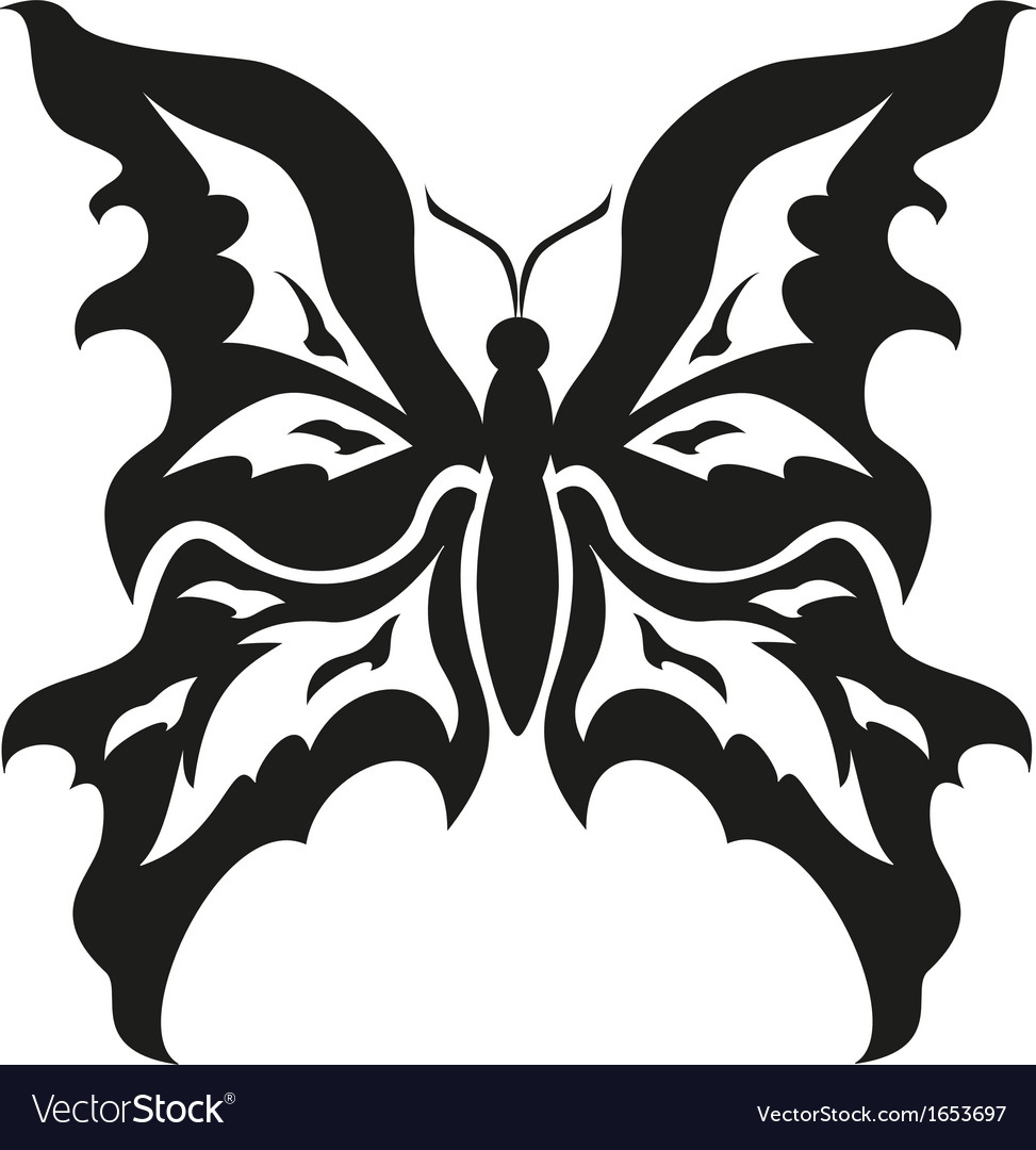 7eefdc563 Black and white butterflies Tattoo design Vector Image