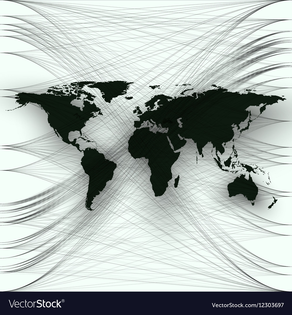 Black color world map with abstract waves and vector image gumiabroncs Image collections