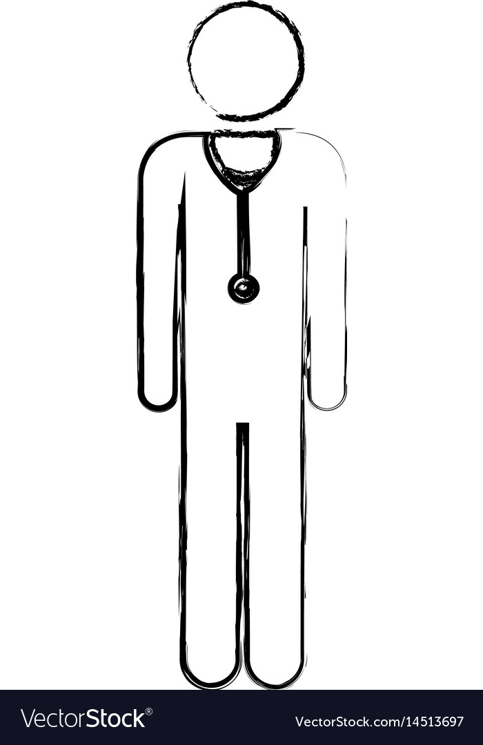Blurred silhouette pictogram male doctor with