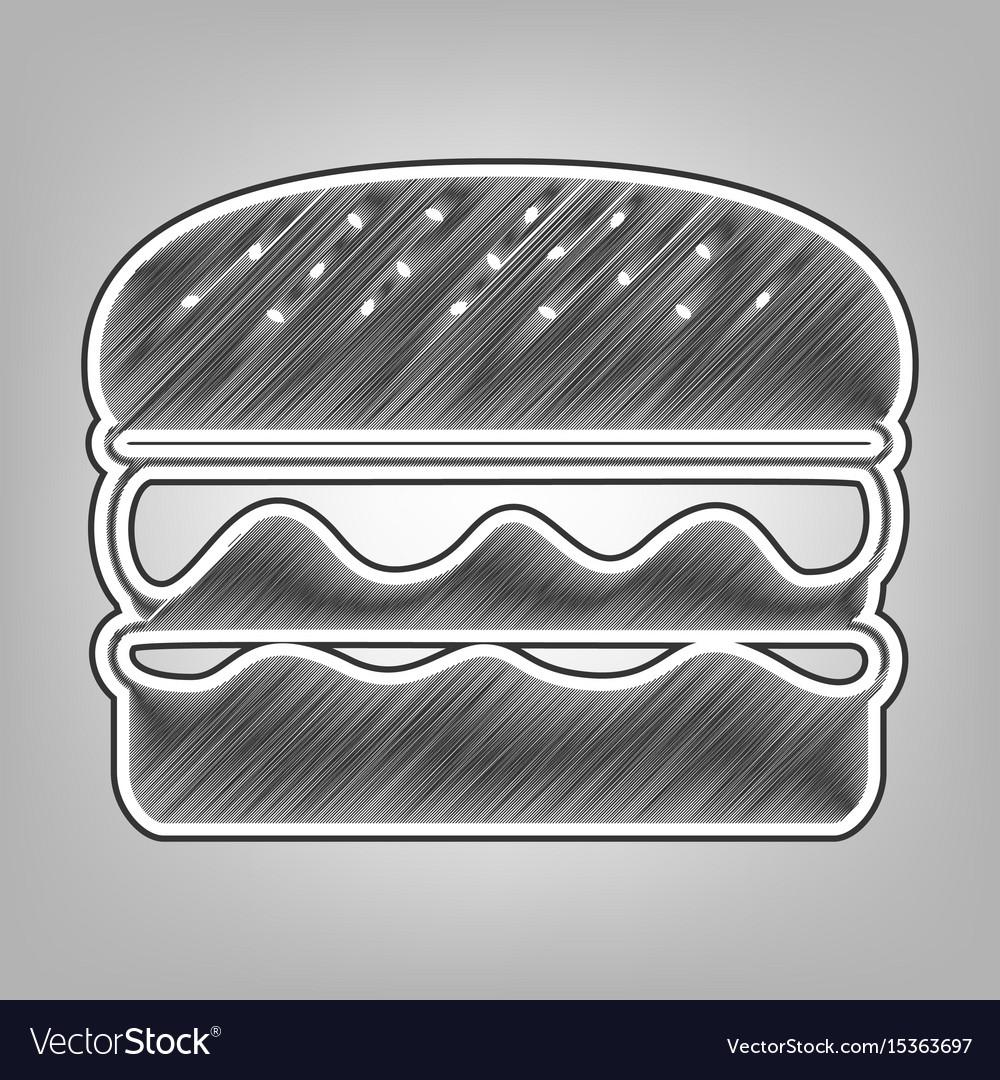 Burger simple sign pencil sketch vector image