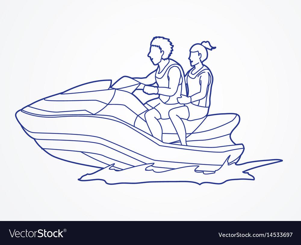 Couple riding jet ski man and woman enjoy riding