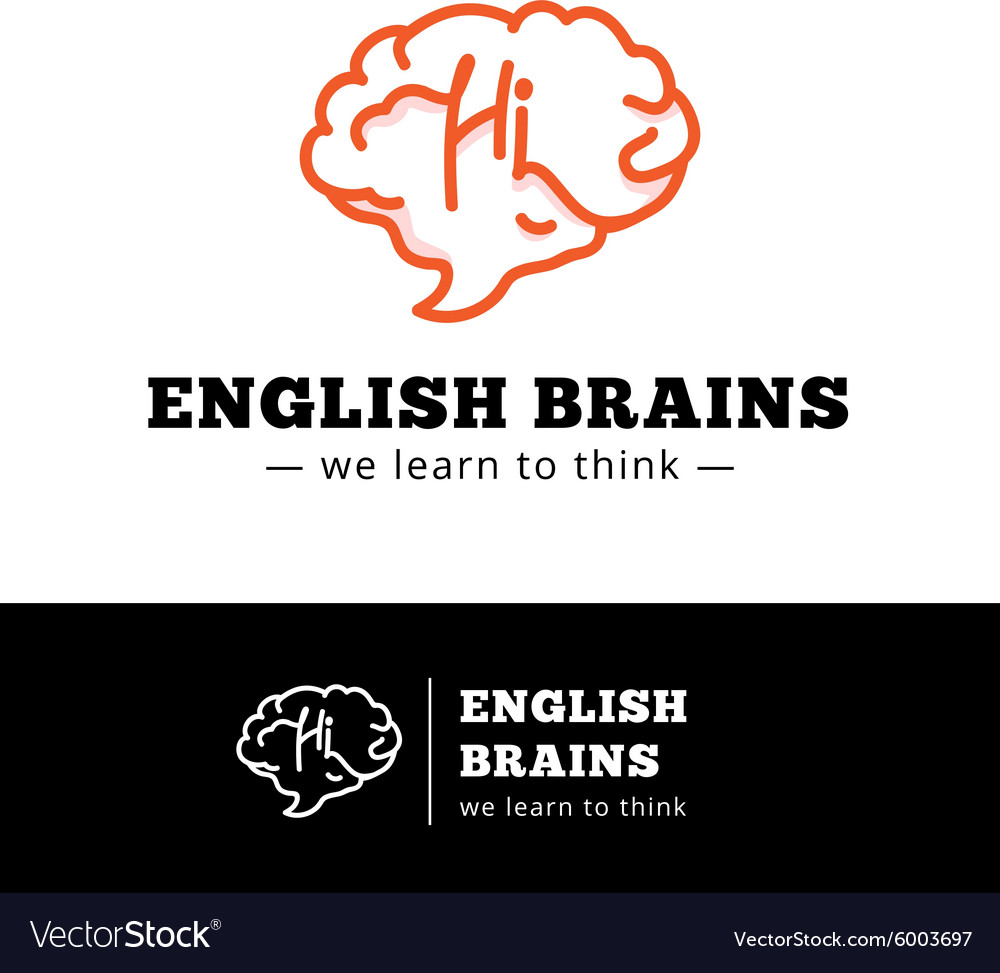 English courses logo concept Brain as a vector image