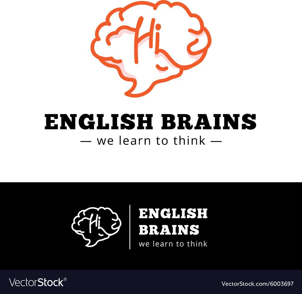 English courses logo concept Brain as a