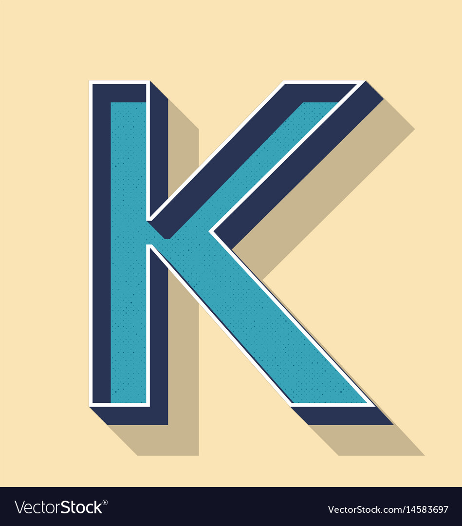 Letter K Retro Text Style Fonts Concept Royalty Free Vector