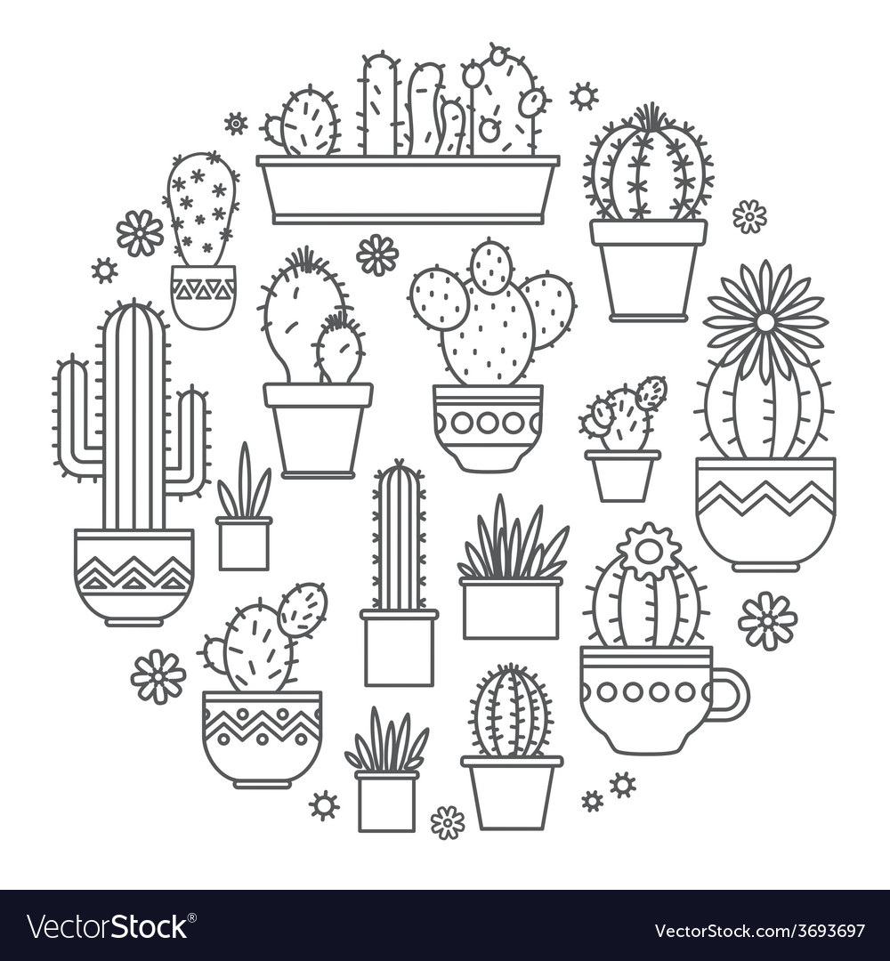 Cactus Porn Dibujo linear design potted cactus elements of a
