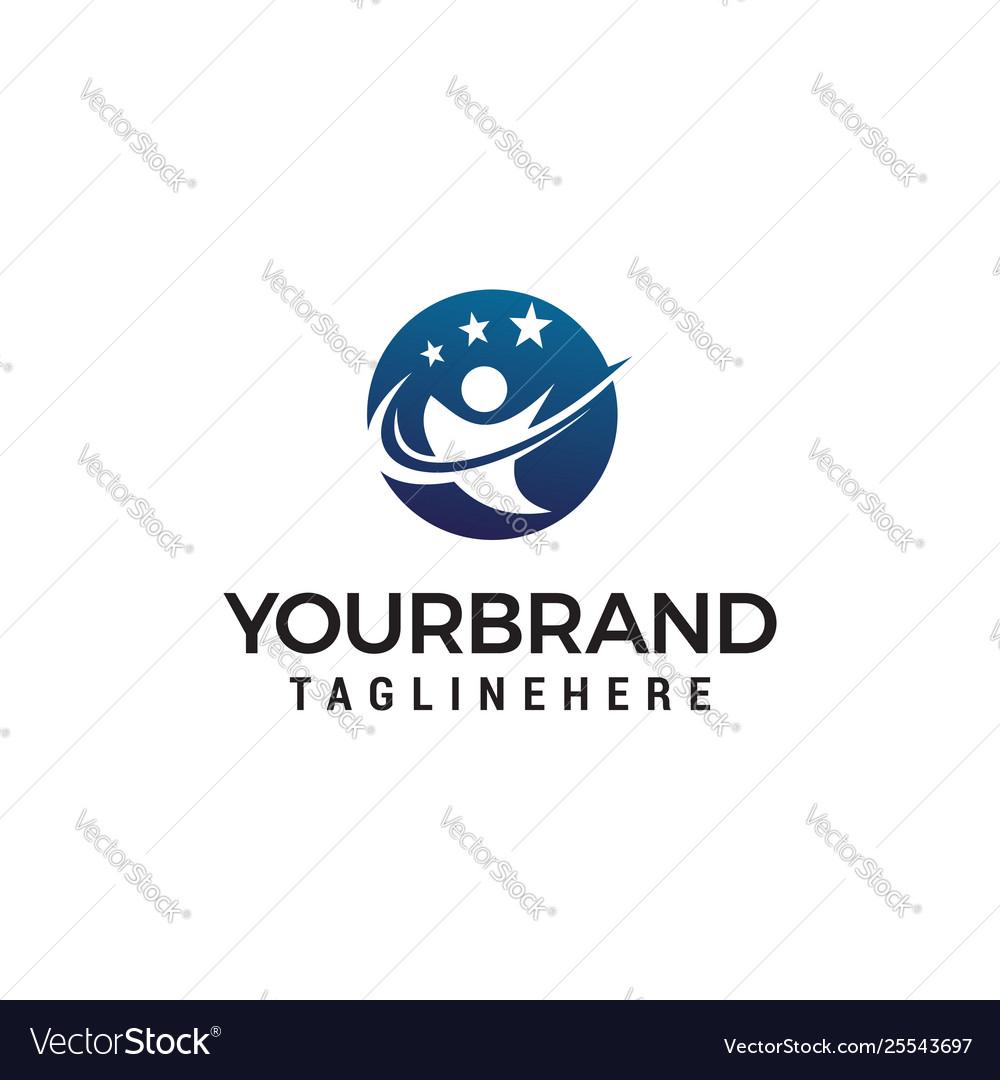 People star circle logo design concept template