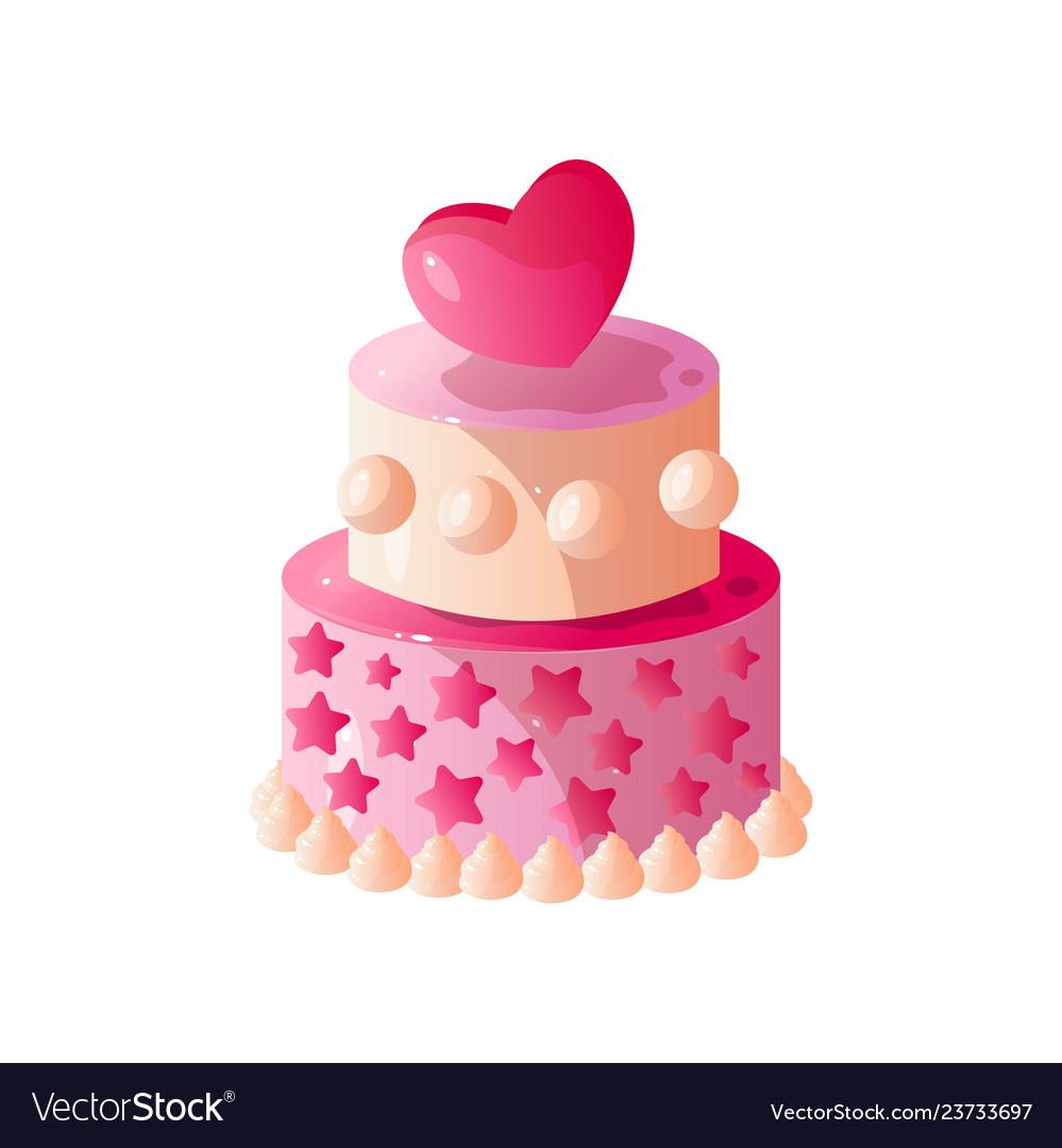 Pink Wedding Or Birthday Cake Sweet Tasty Dessert Vector Image
