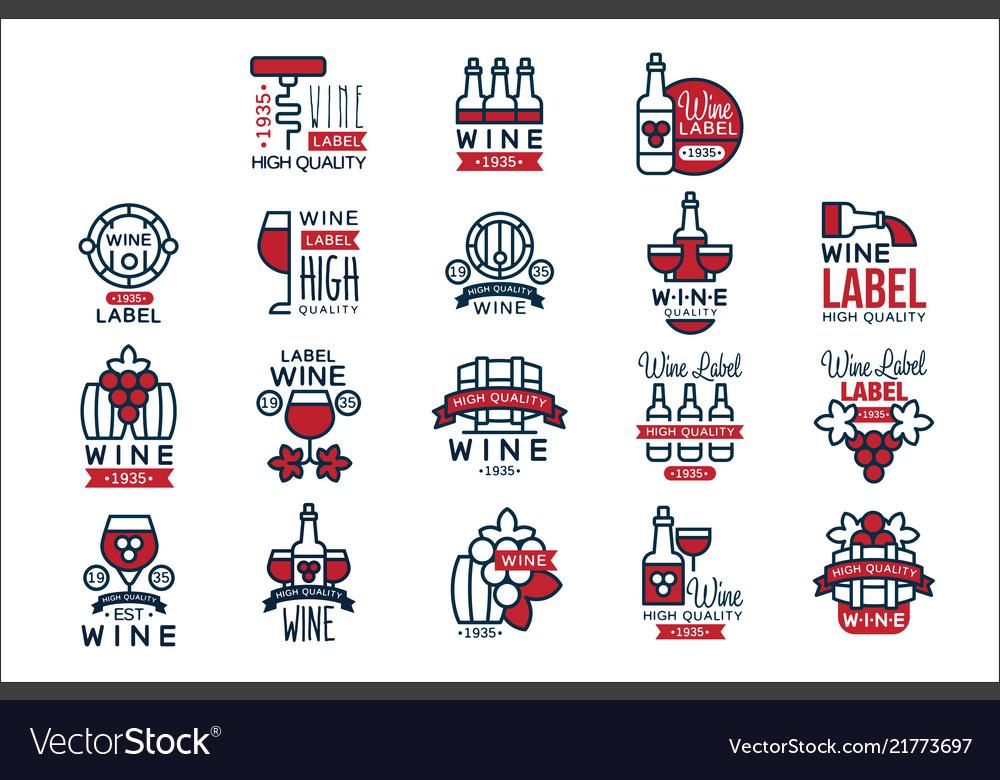 Red wine vintage labels set collection of
