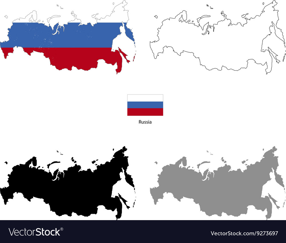Russia country black silhouette and with flag on
