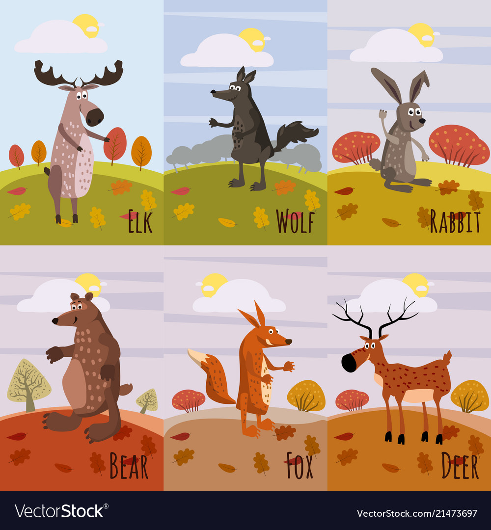 Set cards woodland animals and cute forest design
