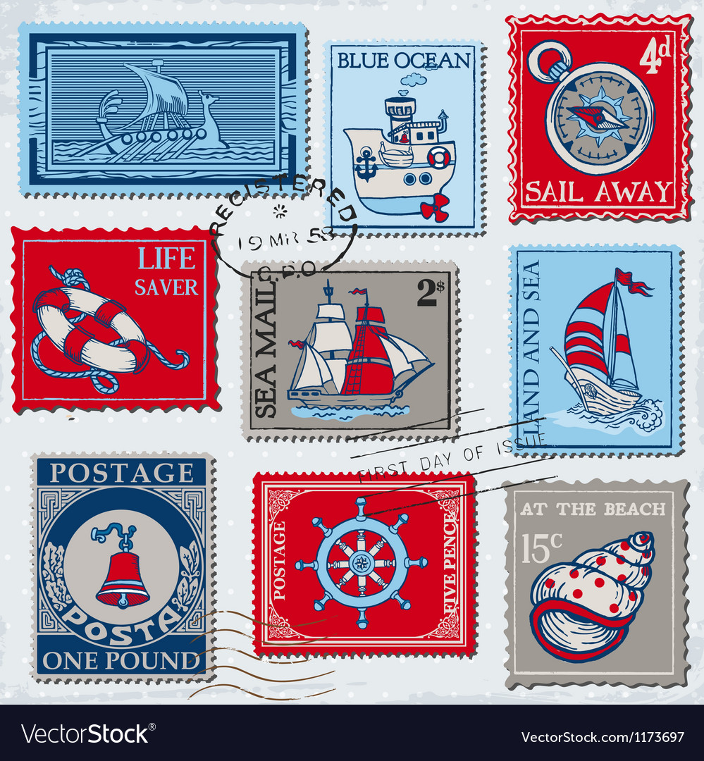set of retro sea post stamps royalty free vector image